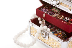 Casket filled with costume jewellery Stock Photo