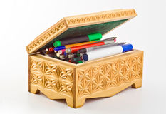 Casket filled with pens and felt-tip pens Royalty Free Stock Images