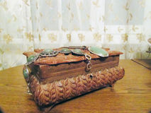 Casket with jewellery on it Stock Photo