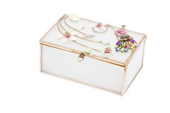 Casket for jewelry gold ornaments Royalty Free Stock Photography