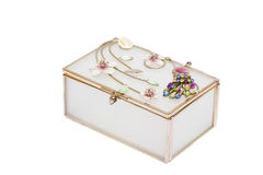 Casket for jewelry gold ornaments Stock Images