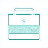 Casket for jewelry, jewelery box a on white background, line design Stock Image