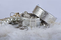 Casket with pearl beads and silver ornaments Stock Photography