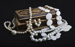 Casket with pearls Royalty Free Stock Image