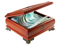 Casket with Russian rubles. Stock Images