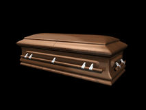 Casket side view on black Stock Image