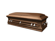 Casket side view on white Stock Images