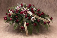 Casket spray. Funeral casket spray of flowers for ceremony Royalty Free Stock Photo