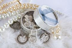 Free Casket With Pearl Beads And Silver Ornaments Stock Photography - 20305742