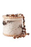 The casket with wooden beads Stock Images