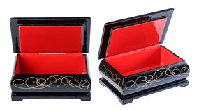 Casket wooden, red black, open isolate on a white background, cl Royalty Free Stock Images