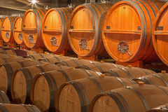 Casks from indoor of modern wine cellar Stock Photography