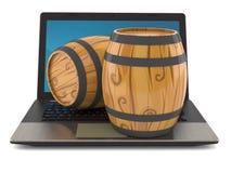 Casks on laptop stock illustration