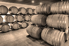 Casks in wine cellar Stock Photo