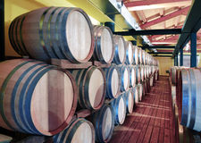 Casks in wine cellar. And bottle Stock Photos