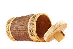 Caso cilíndrico de madera hecho a mano Foto de archivo libre de regalías