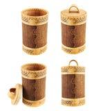 Caso cilindrico di legno fatto a mano Immagine Stock Libera da Diritti