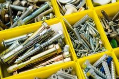 Caso con los pequeños objetos de la construcción Fije la reparación del trabajo del metal en b foto de archivo libre de regalías