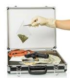 Caso con soldi e le droghe Immagini Stock Libere da Diritti