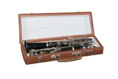 Caso con un clarinet viejo Imagen de archivo libre de regalías