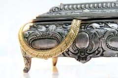 Caso d'argento con il jewelery Fotografia Stock Libera da Diritti