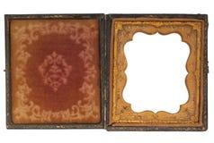 Caso da fotografia da antiguidade com frame de retrato em branco Foto de Stock Royalty Free