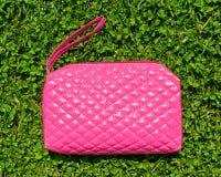 Caso di bellezza o borsa rosa dei cosmetici Fotografia Stock