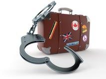 Caso di viaggio con le manette Fotografie Stock Libere da Diritti