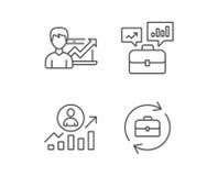 Caso do portfólio, resultados de negócio e ícones da hora ilustração royalty free