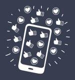 Caso do telefone celular Ícones ilustração royalty free