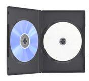 Caso en blanco y disco de DVD   Imagen de archivo