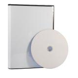 Caso en blanco y disco de DVD Foto de archivo