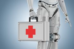 Caso médico en mano del robot ilustración del vector