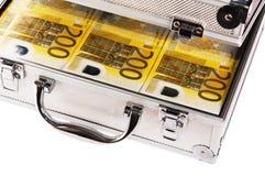 Caso metallico in pieno dell'euro Fotografie Stock Libere da Diritti