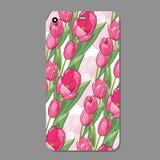 Caso moderno da tampa do telefone com teste padrão sem emenda da tulipa Ilustração do vetor Fotos de Stock Royalty Free