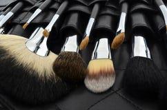 Caso profesional del maquillaje con los cepillos Imagen de archivo