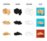 Caso, shell, estrutura, e o outro ícone da Web nos desenhos animados, preto, esboço, estilo liso Caixa, recipiente, pacote, ícone ilustração stock