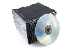 Casos con CD Imagen de archivo libre de regalías