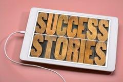 Casos de éxito en la tableta digital Foto de archivo