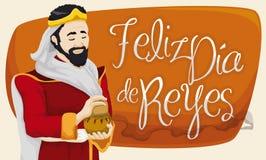 Caspar Magi with Frankincense Celebrating Epiphany or Dia de Reyes, Vector Illustration. Banner with smiling Caspar Magi holding a incense gift for Baby Jesus to Royalty Free Stock Photos