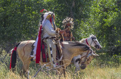 CASPER, WY__CIRCA  JULY  2015__Soldiers and indians reenactment in Casper, Wy. circa July 2015. Old time Indians at the Ft. Caspar Days reenactment near Casper Royalty Free Stock Photo