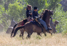 CASPER, WY__CIRCA JULY 2015__Soldiers and indians reenactment in Casper, Wy. circa July 2015 Royalty Free Stock Photography