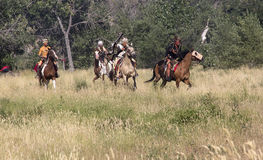 CASPER, WY__CIRCA JULY 2015__Soldiers and indians reenactment in Casper, Wy. circa July 2015 Royalty Free Stock Images