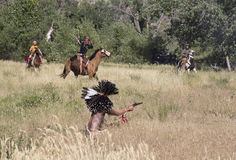 CASPER, WY__CIRCA JULY 2015__Soldiers and indians reenactment in Casper, Wy. circa July 2015 Stock Images