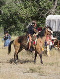 CASPER, WY__CIRCA  JULY  2015__Soldiers and indians reenactment in Casper, Wy. circa July 2015. Old time Indian re-enactors at Ft. Caspar Days near Royalty Free Stock Images