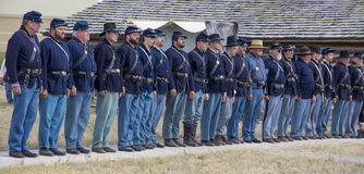 CASPER, WY__CIRCA JULY 2015__Soldiers and indians reenactment in Casper, Wy. circa July 2015 Stock Image