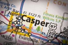 Casper, Wyoming en mapa Fotos de archivo libres de regalías
