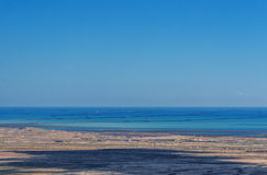 Caspian coast with a lot of oil rigs at sea Stock Image