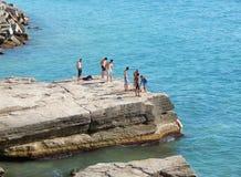 Caspian Sea, beach vacation. Kazakhstan. Mangistau region. Aktau city stock image