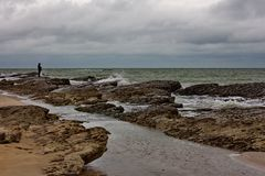 Caspian Sea, Caspian coast in the village of Zagulba. On a windy day royalty free stock image